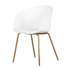 Chaise avec base en métal Flam de South Shore, blanc et doré