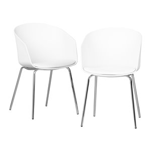 Ensemble de 2 chaises de salle à manger Flam de South Shore, blanc et argent