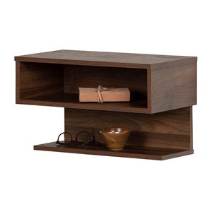 South Shore Sazena Floating Nightstand - Natural Walnut