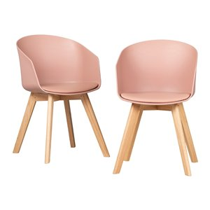 Ensemble de 2 chaises de salle à manger Flam de South Shore, rose