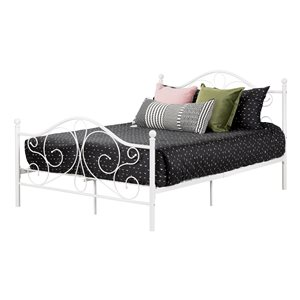 South Shore Summer Breeze Complete Full Metal Platform Bed - White