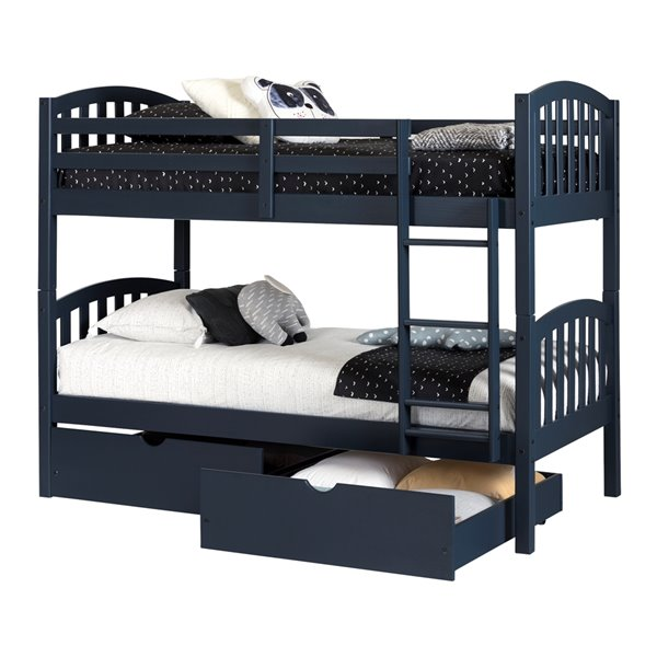 South Shore Asten Bunk Beds And Rolling Drawers Set Navy Blue 12729 Rona