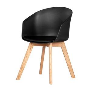 Chaise avec base en bois Flam de South Shore, noir