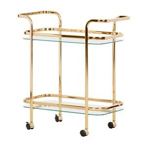 South Shore Maliza Bar Cart - Gold and Glass