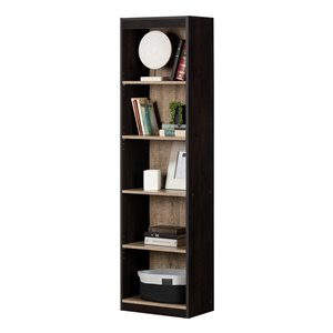 South Shore Axess 5-Shelf Narrow Composite Bookcase - Weathered Oak and Rubbed Black