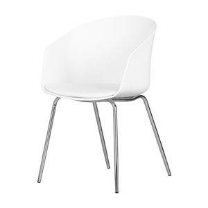 Chaise avec base en métal Flam de South Shore, blanc et argent