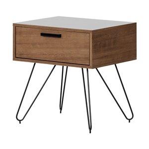 Table de chevet 1 tiroir Slendel de South Shore, bois exotique