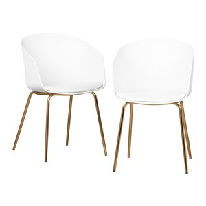 Ensemble de 2 chaises de salle à manger Flam de South Shore, blanc et doré