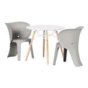 Ensemble table ronde et chaises pour enfants Sweedi de South Shore, gris éléphant