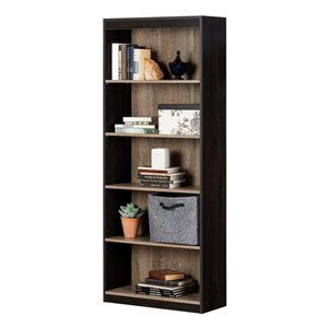 South Shore Axess 5-Shelf Composite Bookcase - Weathered Oak and Rubbed Black