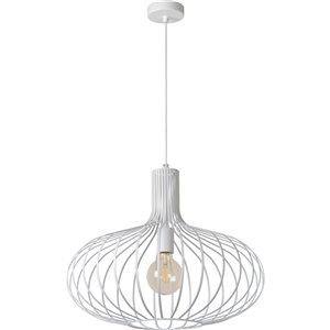 Luminaire suspendu Rue moderne de Notre Dame Design, 1 lumière DEL, blanc/noir