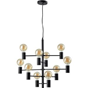 Lustre industriel Gardener à 10 lumières de Notre Dame Design, noir