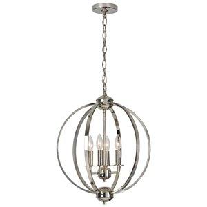 Lustre à 4 lumières moderne Astley de Notre Dame Design, nickel