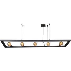 Lustre industriel Calixo à 5 lumières de Notre Dame Design, noir