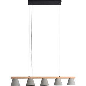 Lustre à 5 lumières moderne Jerriko de Notre Dame Design, gris/noir