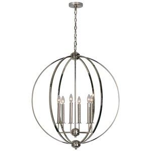 Notre Dame Design Myth Modern 6-Light Chandelier - Nickel