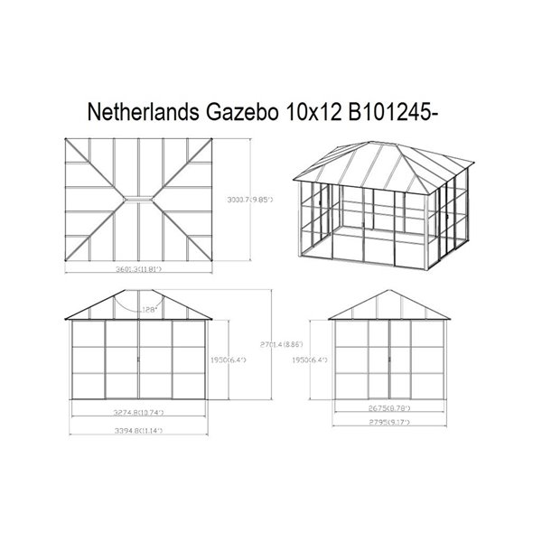 Gazebo rectangulaire permanent en métal Netherlands de F.Corriveau International, 10 pi x12 pi, noir