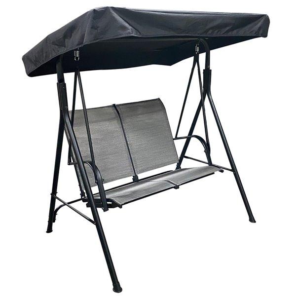 F.Corriveau International Promo Two-Seater Aluminum Outdoor Swing - Black