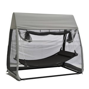 F.Corriveau International Fabric Hammock with Canopy and Stand - Mosquito Net - Charcoal