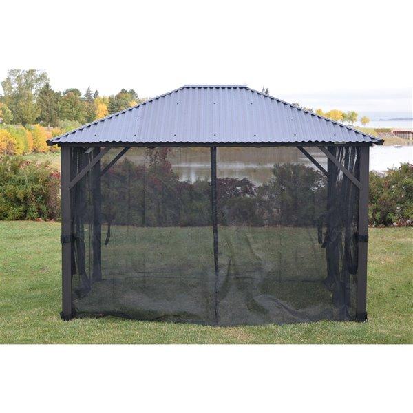 Moustiquaire pour gazebo de F.Corriveau International, 10 pi x 14 pi, noir