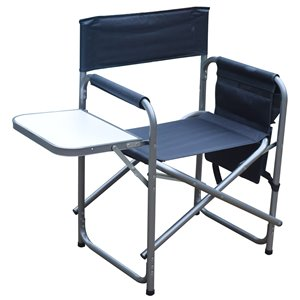 F.Corriveau International 2-Pack Metal Folding Director Chair with Tray and Storage Pouch - Stainless Steel