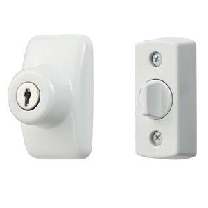 Pêne dormant à clé pour porte-moustiquaire Ideal Security, 2,76 po, blanc