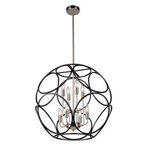 Lustre à 8lampes et 2paliers Sorrento de Artcraft Lighting, noir mat