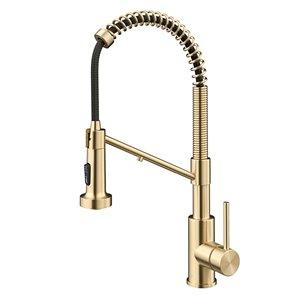 Kraus Bolden 2-in-1 Water Filter Kitchen Faucet - Deck Mounted - 1-Handle - Antique Champagne Bronze