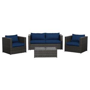 Mobilier de conversation pour l'extérieur Sorrento de Think Patio, brun foncé/bleu foncé, 4 pièces