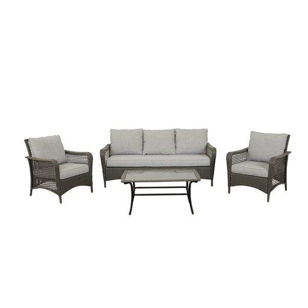 Think Patio Durham Patio Conversation Set - Grey Frame with Light Grey Cushions - 4-Piece