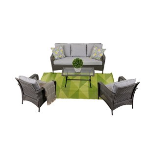 Think Patio Durham Patio Conversation Set - Grey Frame with Light Grey Cushions - 4-Piece
