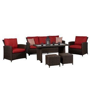 Think Patio Beaumont Patio Conversation Set - Dark Brown Frame with Red Cushions - 6-Piece
