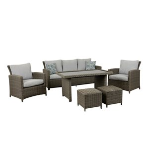 Think Patio Greymont Patio Conversation Set - Grey Frame with Light Grey Cushions - 6-Piece