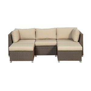 Think Patio Chambers Bay Patio Conversation Set - Beige Frame with Tan Cushions - 5-Piece