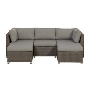 Think Patio Chambers Bay Patio Conversation Set - Beige Frame with Light Grey Cushions - 5-Piece