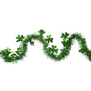 Northlight Tinsel Irish Shamrock St. Patrick's Day Garland - 25 ft. - Green
