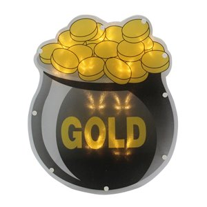 Northlight LED Irish St.Patrick's Day Pot of Gold Window Decoration - 12-in