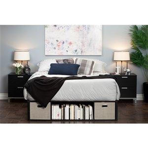 Grand lit plateforme avec rangement et paniers Flexible de South Shore, chêne noir/taupe