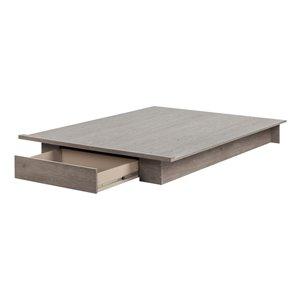 Grand lit plateforme avec tiroir Holland de South Shore, chêne sable