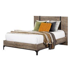 Lit plateforme double avec tête de lit Valet de South Shore, chêne vieilli