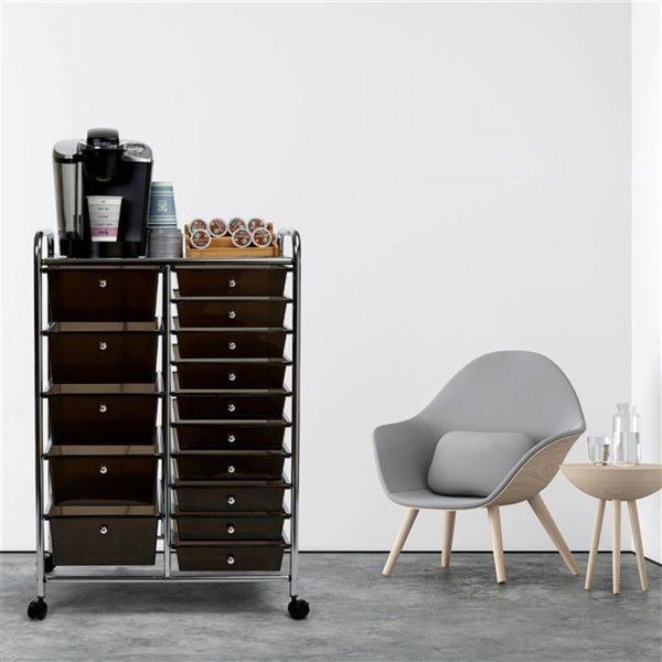 Chariot organisateur à 15 tiroirs Seville Classics, noir