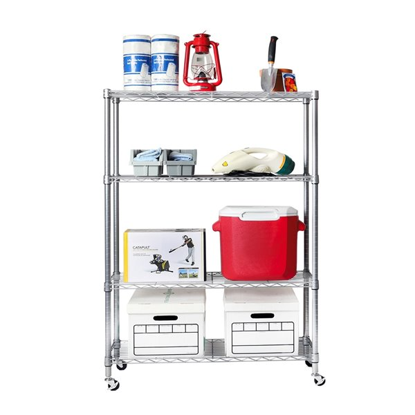 Vancouver Classics 4-Tier Shelving - 36-in x 14-in x 56.5-in - Silver Steel