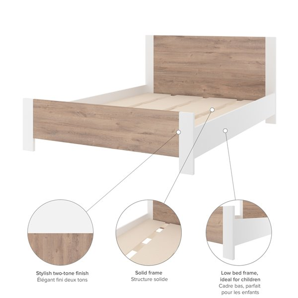 Bestar Sirah Full Platform Bed - Rustic Brown/White