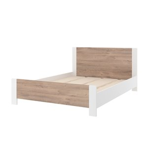 Bestar Sirah Full Platform Bed - Rustic Brown/White