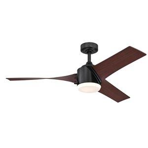 Ventilateur de plafond Evan de Westinghouse Lighting Canada avec télécommande, lumière DEL, 3 pales, noir mat