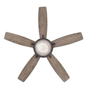 Ventilateur de plafond Crescent de Westinghouse Lighting Canada avec télécommande, lumière DEL, 5 pales, bronze huilé