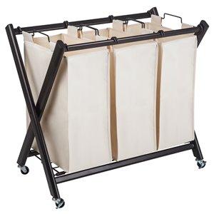 Panier à linge à 3 compartiments de qualité supérieure de Greenway, 42 litres, acier