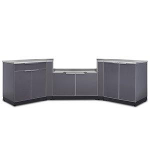 Cuisine extérieure modulaire NewAge Products avec comptoir, 129.75 po x 36,5 po, gris ardoise, 3 pièces
