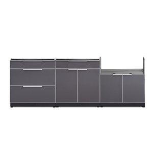 Cuisine extérieure modulaire NewAge Products, 97 po x 36,5 po, gris ardoise, 3 pièces