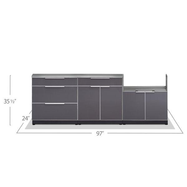 Cuisine extérieure modulaire NewAge Products avec housse 4 saisons, 97 po x 36,5 po, gris ardoise, 4 pièces